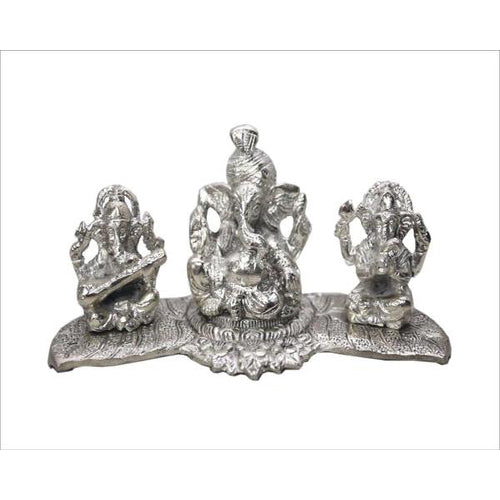 Lightahead Lord Ganesh Musicians Made in India in White Metal with Antique look