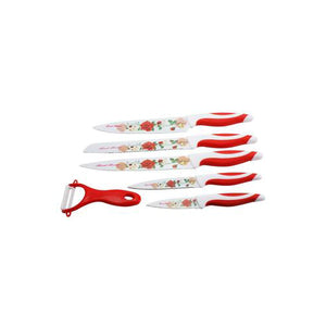 Lightahead Stainless Steel 6 pcs colored Knives set - Chef, Bread, Carving, Utility,Paring Knife, Slicer - Vibrant Stylish Kitchen Knives Cutlery Sets (Red Rose)
