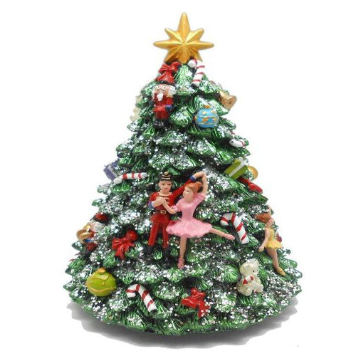 Lightahead Polyresin Musical Revolving Christmas Tree with Nutcracker dolls and Christmas Music playing