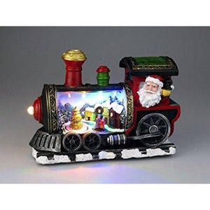 Lightahead Musical Christmas Turning Tree Scene Figurine Santa in Locomotive Train with Colorful LED Light with 8 Melodies