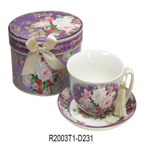 Lightahead Bone China Cappuccino Coffee tea Cup and Saucer Set in Rose Design with attractive gift box