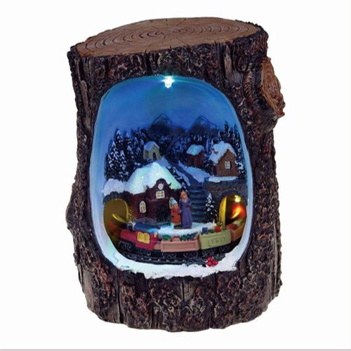 Lightahead Christmas scene in a Log A Multi Colored LED Lighted Rotating Musical scene with 8 melodies (Train)