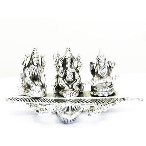 Lightahead Lord Ganesh,Goddess Lakshmi & Saraswati a unique diya tea light candle stand in white metal statue of Hindu Gods on a feather made in India
