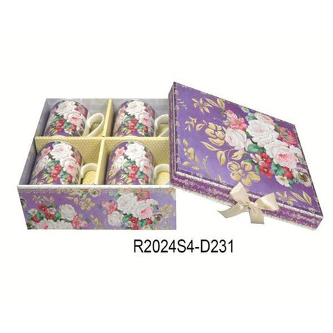 Lightahead Elegant Bone China Coffee Tea Mug set of 4 in Beautiful Roses Design 8.5 oz each cup in attractive gift box