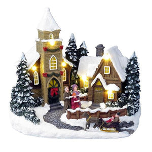 Lightahead Christmas Cottage Scene with LED Light and Musical with 8 Melodies, Tabletop Centerpieces