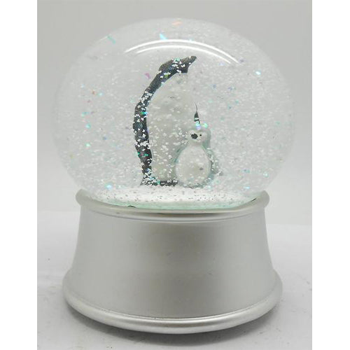 Lightahead 100MM Resin Penguin Musical Water Snow Ball Globe with Iron base and Rotating playing tune JINGLE BELLS