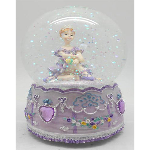 Lightahead 100MM BALLERINA Sitting Music Water Globe with Inside Figurine Rotating playing tune SWAN LAKE Table Top Decoration