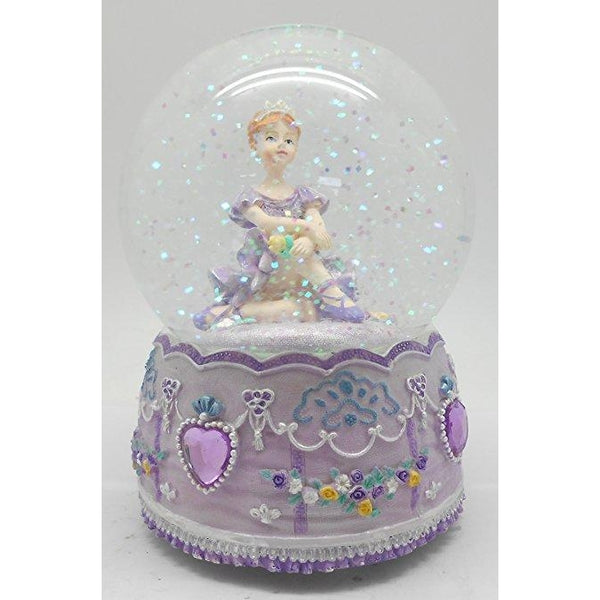 Lightahead 100MM BALLERINA Sitting Music Water Globe with Inside Figurine Revolving playing tune SWAN LAKE Table Top Decoration