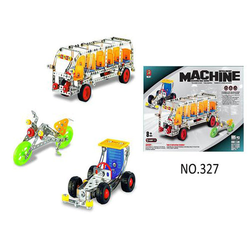 Lightahead Assembly Metal Model Kits Toy Building Puzzles Construction Play Set, 605 pcs metal blocks of traffic series can make 3 designs (Bus, Racing Car, Motorcycle)