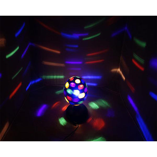 Lightahead 6 inch 360 degree rotating LED Disco Ball Light with UL adaptor Multi Color Rotating Ball for Disco party club bar DJ Color Black