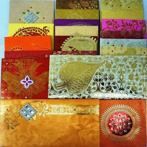 Lightahead GIFT ENVELOPE CARD MONEY HOLDER FANCY PACKET FOR WEDDING ANNIVERSARY CHRISTMAS AND OTHER FESTIVE OCCASIONS SET OF 5 ASSORTED COLORS & DESIGN (set of 5)