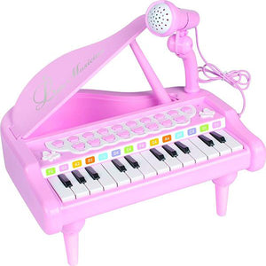Lightahead Little Pianist Piano 24 Keys Musical Mini Piano Plays 8 Percussion 4 Different Musical Instruments with colorful lights effect Rhythms MP3 Record Play function and Microphone