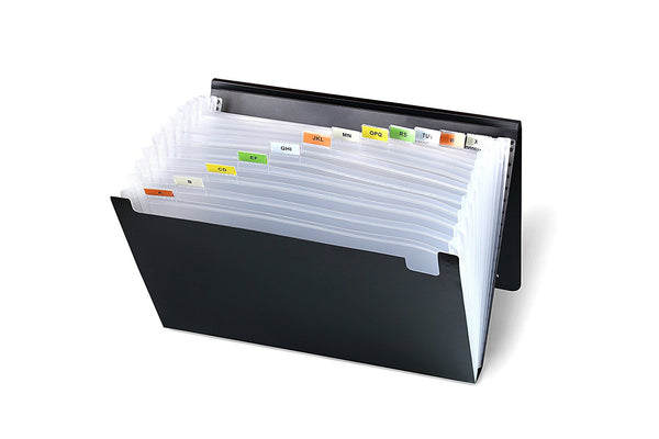 Lightahead LA-7551 Expanding file Poly Folder with 13 pockets (Solid Black)