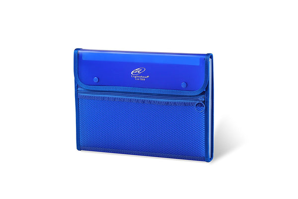 Lightahead LA-7553 Expanding File Folder with 13 pockets, with mesh bag and zipper-Blue