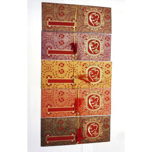 Lightahead® SHAGUN GIFT ENVELOPE CARD MONEY HOLDER FANCY PACKET FOR GIFTING AT FESTIVE OCCASIONS SET OF 4 GANESH ASSORTED DESIGN & COLORS