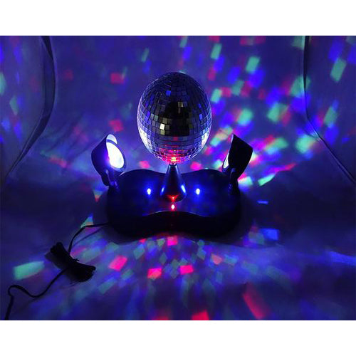 Lightahead LED Peak Due Rotating Mirror Disco Ball with 2 Adjustable LED Light Projector Lamps