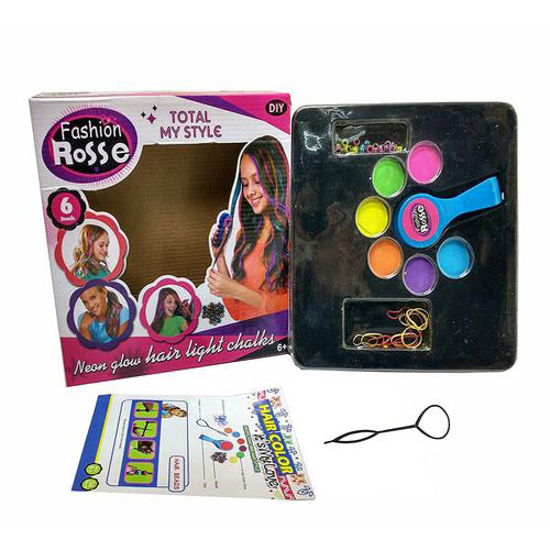 Lightahead Temporary Neon Hair Color Chalk Sets for Kids .Set, Color & Bead  your own hair style!
