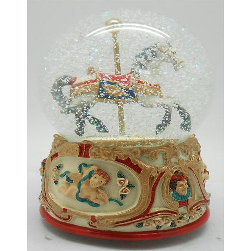 Lightahead 100MM Carousel Horse Snow Water Globe ball with Music playing