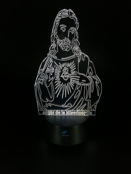 Lightahead Amazing 3D Optical Illusion Touch Night Light LED Art Piece with 7 changing Color(Jesus)