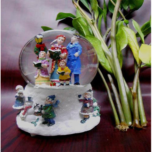 Lightahead Polyresin Christmas Carol Singing Snow Blowing Musical Water Ball Snow Globe