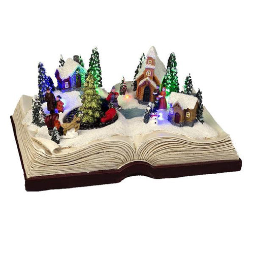 Lightahead Christmas Scene on Book,Moving Train with Colorful LED Light and Musical with 8 Melodies