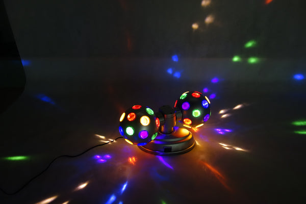 "Lightahead®LED 4"" Twin Disco Ball with UL adaptor Double rotating, two 4"" colourful disco balls"