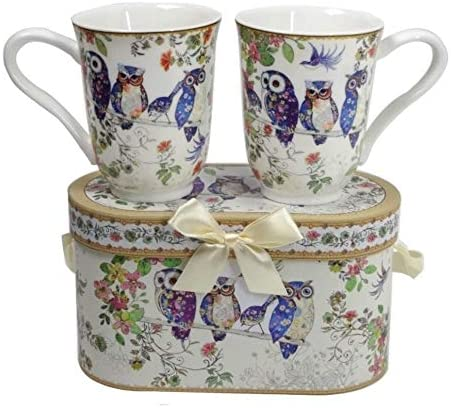 Lightahead Royal Bone China Unique Set Of Two Coffee / Tea Mugs in an Family of Owls Design