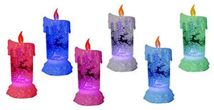 Lightahead LED glitter flameless candle with Moving Patterns light Sprinkle colorful glitter base with LED RGB color change
