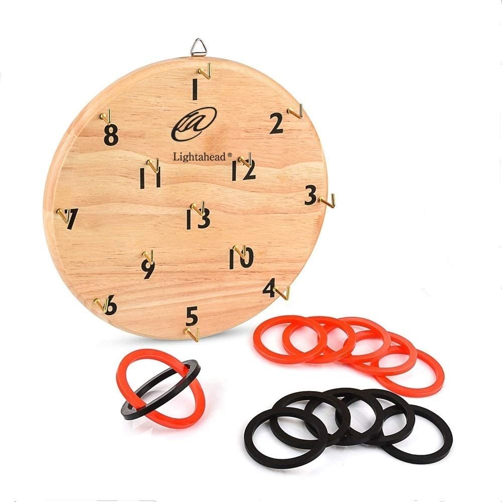 Lightahead Wooden Hook Ring Toss Game for Kids & Adults - Play Set with Board, Hooks and Rings