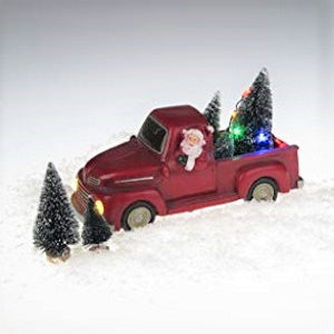 Lightahead Musical Christmas Santa in Pickup Truck Figurine with Colorful LED Light and 8 Melodies