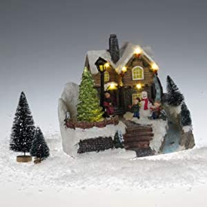 Lightahead Musical Christmas Snow House Figurine with Turning Tree Scene, LED Light with 8 Melodies