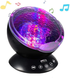 Lightahead Ocean Wave Projector Night Lamp with Music Player, Remote Control, 7 Color Changing Modes