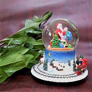 Lightahead Poly resin 100MM Santa With Children Music Water ball, Snow Globe with the Inside Figurine And Outside Train Revolving