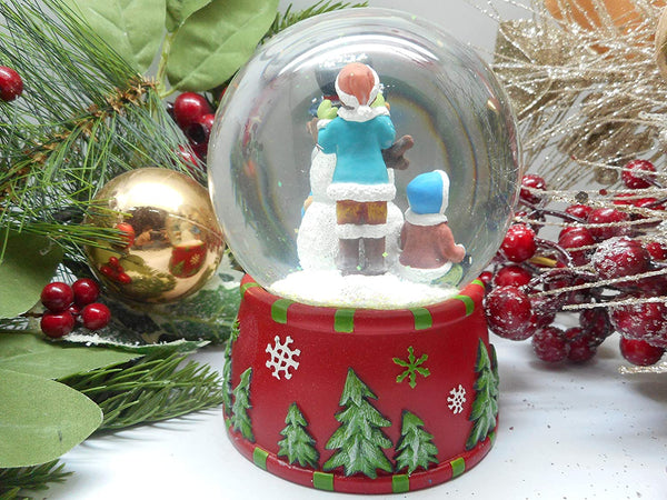 Lightahead Polyresin 100MM Snowman Musical Water Snow Globe with 8 melodies playing