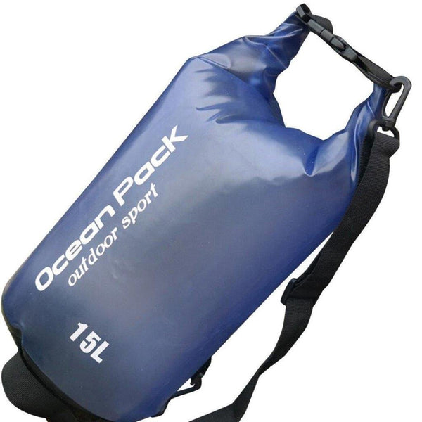 Lightahead Transparent Waterproof Dry Bags 15L for Kayaking/ Fishing/ Rafting/ Beach/ Hiking-Blue