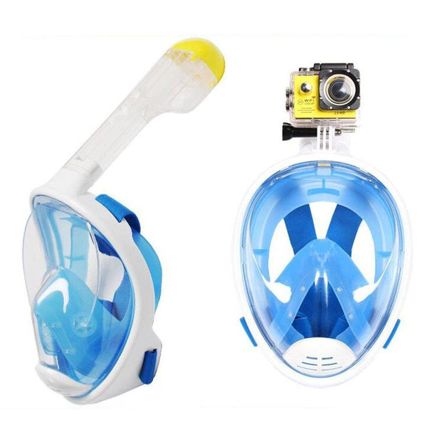 Lightahead 180° Full Face Snorkel Diving Mask Anti-Fog Anti-Leak with Easy Breath Design-L/XL-BLUE
