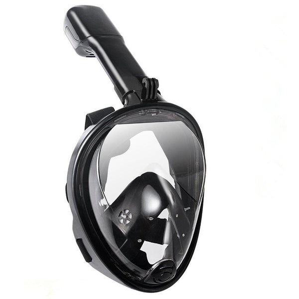 Lightahead 180° Full Face Snorkel Diving Mask Anti-Fog Anti-Leak Panoramic Full Face(L/XL-BLACK)