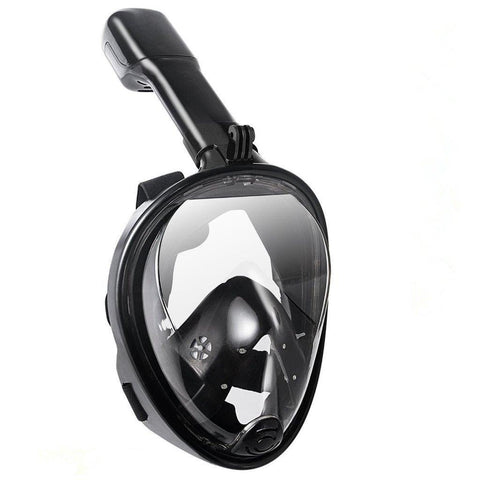 Lightahead 180° Full Face Snorkel Diving Mask Anti-Fog Anti-Leak with Panoramic Full Face-S/M-BLACK