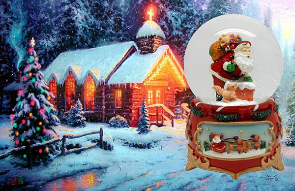 Lightahead PolyResin 80MM Musical Water Snow Globe Playing a Tune & Rotating Table Top Decoration for Christmas (Santa)