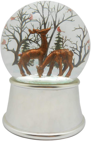 Lightahead Polyresin Musical Snow Globe Ball Reindeer's with Iron base and Rotating playing tune (Reindeer couple)