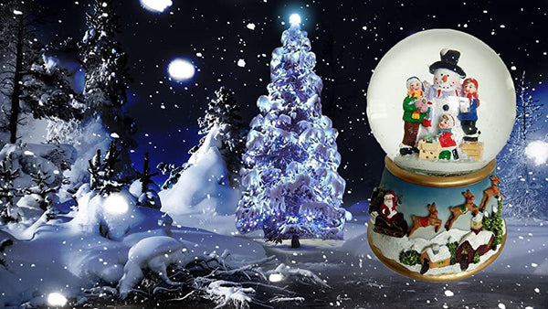 Lightahead Polyresin Snowman 100mm Water globe with flying snow, LED light, Musical Centerpiece