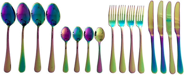 Lightahead 16pcs Rainbow colored Iridescent Stainless Steel Flatware Cutlery Set in Black Gift Box