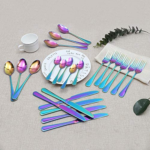 Lightahead 24pcs Rainbow colored Iridescent Stainless Steel Flatware Cutlery Set in Black Gift Box