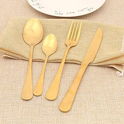 Lightahead 16pcs Stainless Steel Flatware Tableware Gold Colored Cutlery Set in Golden Gift box