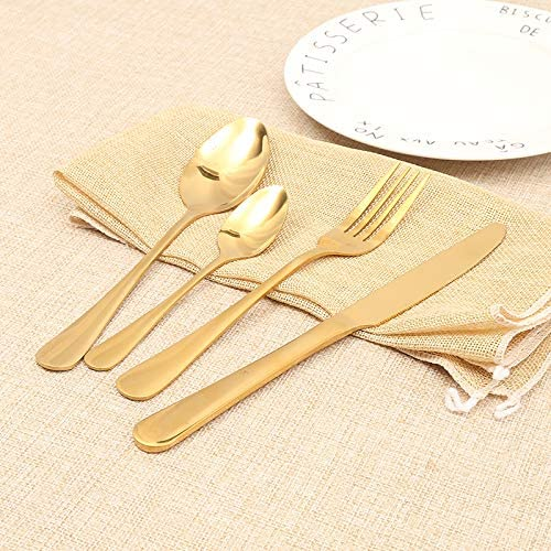 Lightahead 24pcs Stainless Steel Flatware Tableware Gold Colored Cutlery Set in Golden Gift box