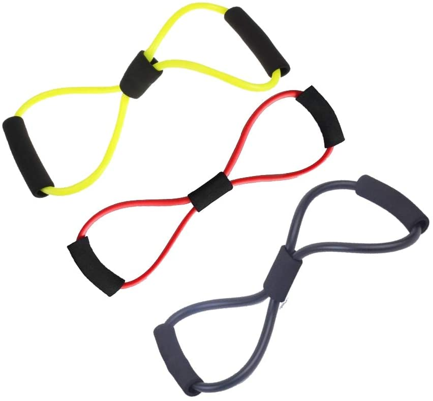Lightahead Figure 8 Exercise Band Resistance Cord Tube Workout Body Building Fitness Tool (Set of 3)