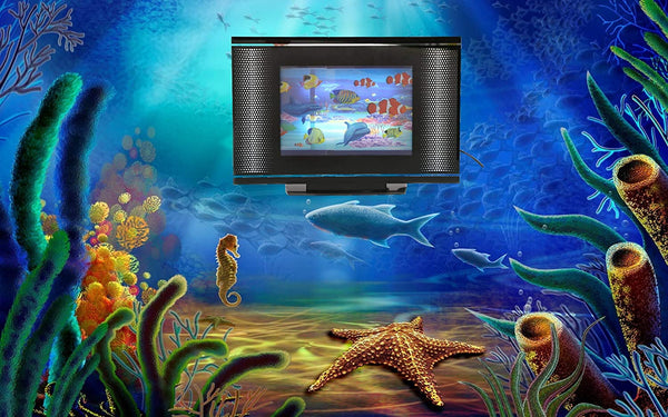 Lightahead LCD Black Screen Aquarium Lamp Artificial Sensory Aquarium Tropical Fish Lamp Dolphin