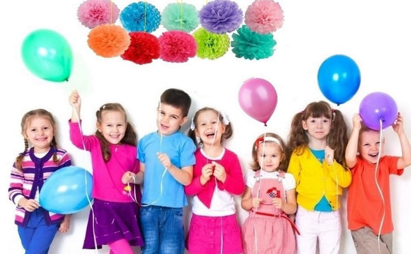 Lightahead Set of 15 Pcs Assorted Rainbow Colors Tissue Paper Pom Poms for Birthday Wedding Party Baby Shower Decorations