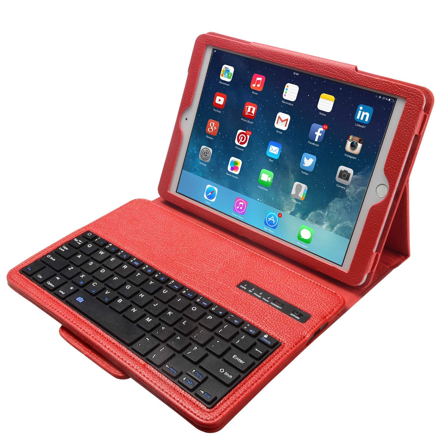 Lightahead Keyboard Case for Apple iPad 2/3/4 Folding Leather Folio Cover with Removable Bluetooth Keyboard for iPad 2/3/4 Tablet (Red)