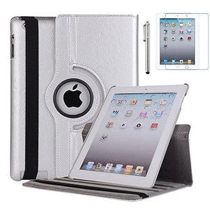 iPad 2 Case, iPad 3 Case, iPad 4 Case,  LIGHTAHEAD Rotating Stand Case Cover with Wake Up/Sleep for Apple iPad 2, iPad 3, iPad 4 [ 9.7-Inch iPad Released Before 2013 ] (Silver)